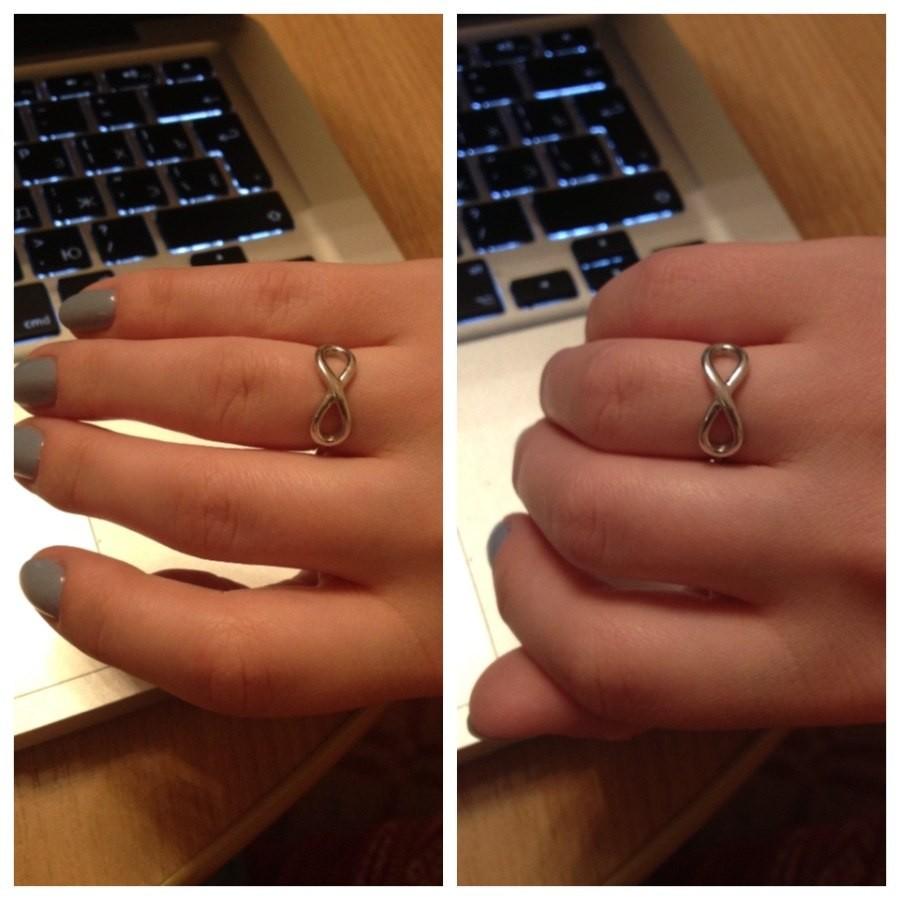 золотое кольцо со знаком бесконечности купить