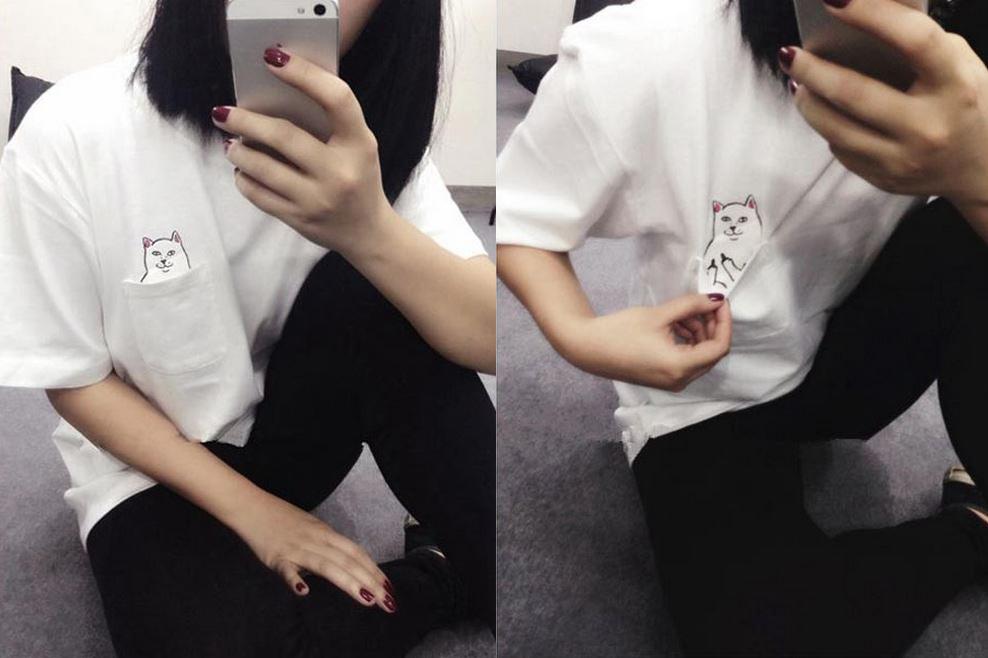 Купить футболку с котом из кармана